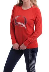 Cinch Ladies Cinch Long Sleeve Athletic Red Raglan Tee