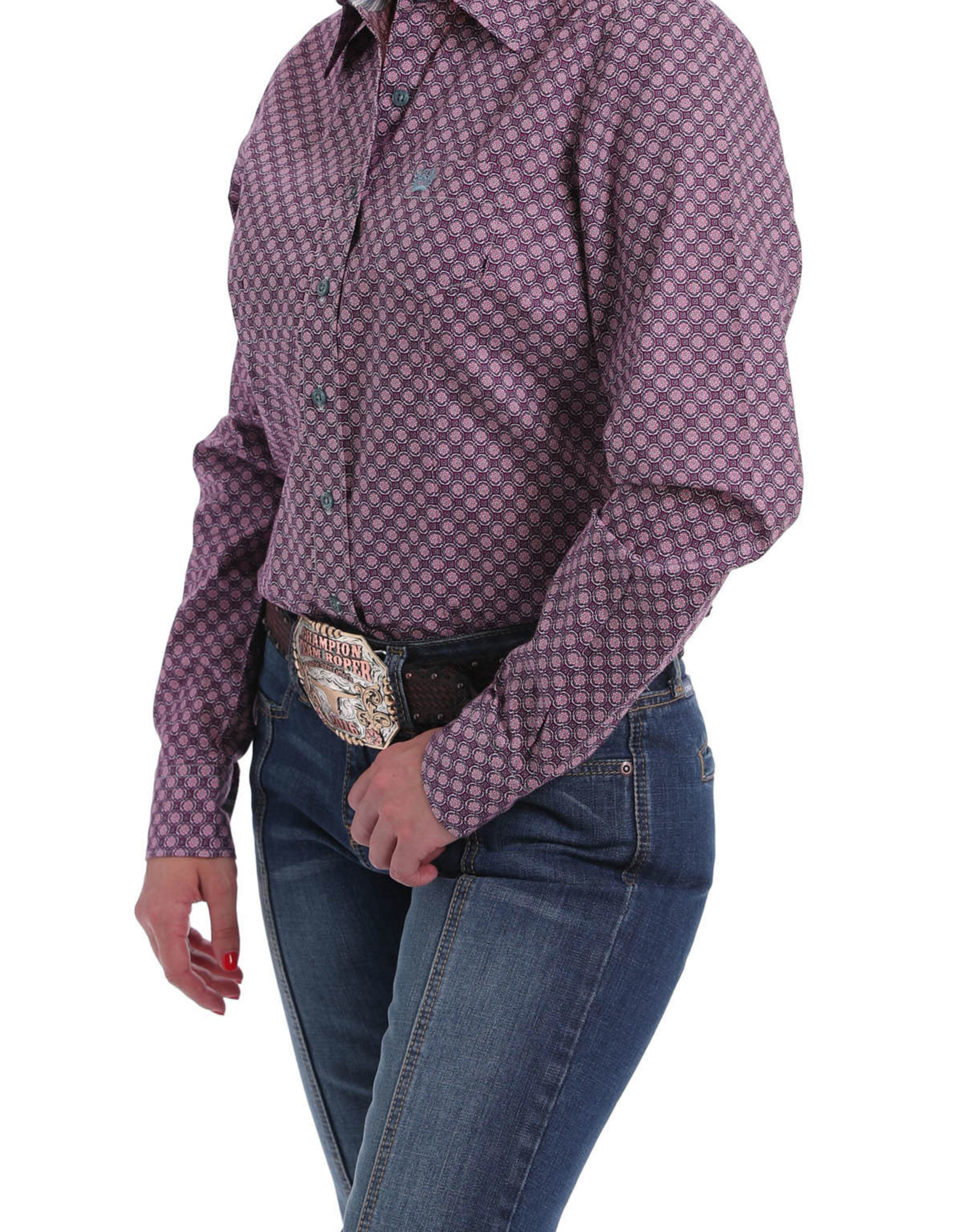 Cinch Ladies Cinch Long Sleeve Button Down Purple Print