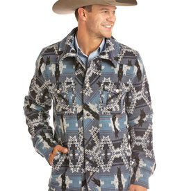 Powder River Mens Blue Aztec Jacquard Wool Jacket