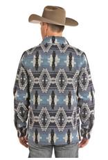 Powder River Mens Blue Aztec Jacquard Wool Jacket