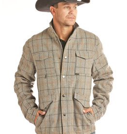 Mens Powder River Grey Plaid Western Wool Jacket