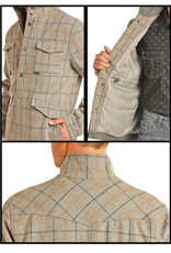 Mens Powder River Grey Plaid Western Wool Jacket