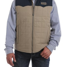 Cinch Mens Cinch Tan Navy Quilted Color Block Vest