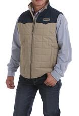 Cinch Mens Cinch Tan Navy Quilted Color Block Vest