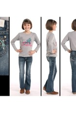 Girls Rock N Roll Cowgirl Denim Turquoise Copper Feather jeans