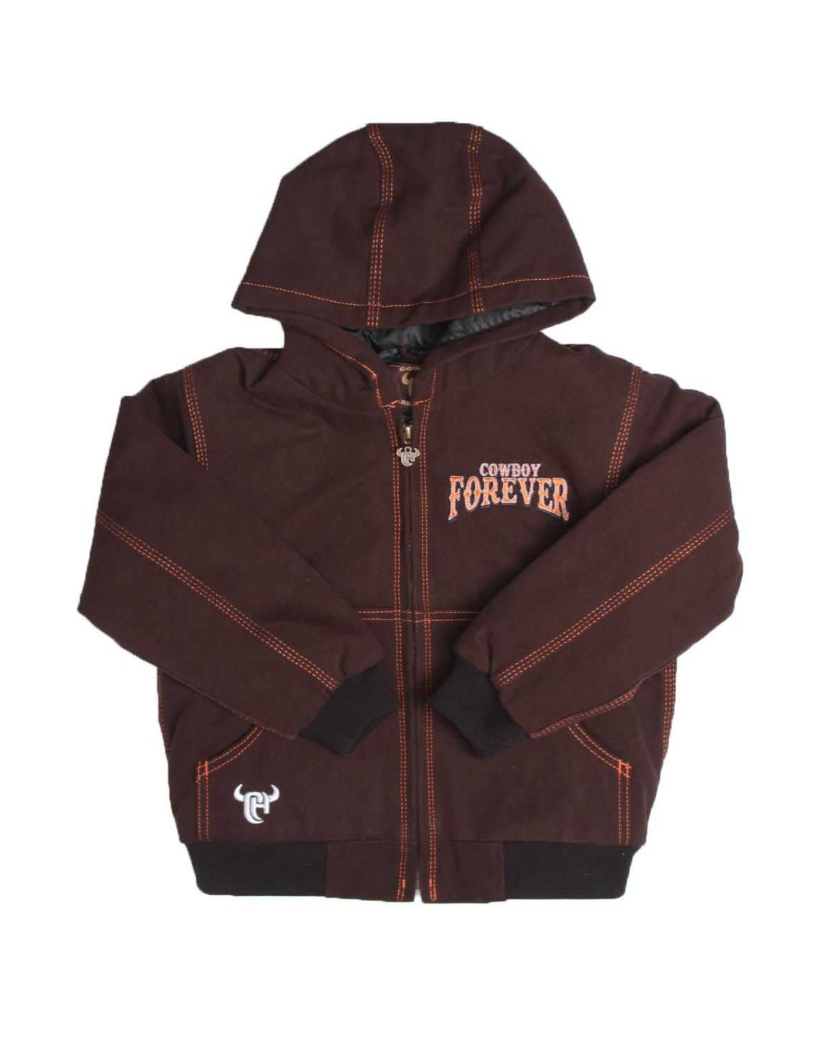 Cowboy Hardware Boys Brown Canvas Hooded Cowboy Forever Jacket