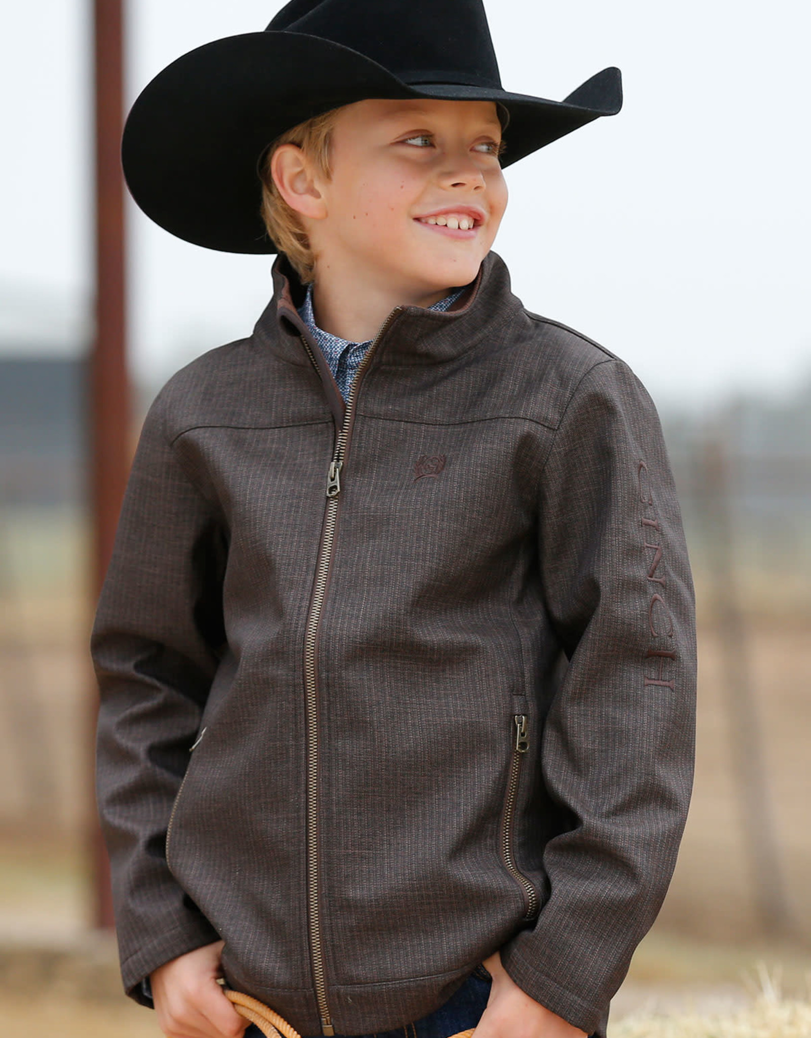 Cinch Cinch Boys Brown Textured Bonded Zipper Jacket