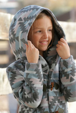 Girls Cruel Girls Blue Pink Hooded Aztec Long Jacket