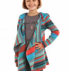 Girls Rock N Roll Cowgirl Turquoise Coral Cardigan Sweater