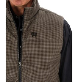 Cinch Mens Cinch Puffy Brown Hounds-tooth Print Vest