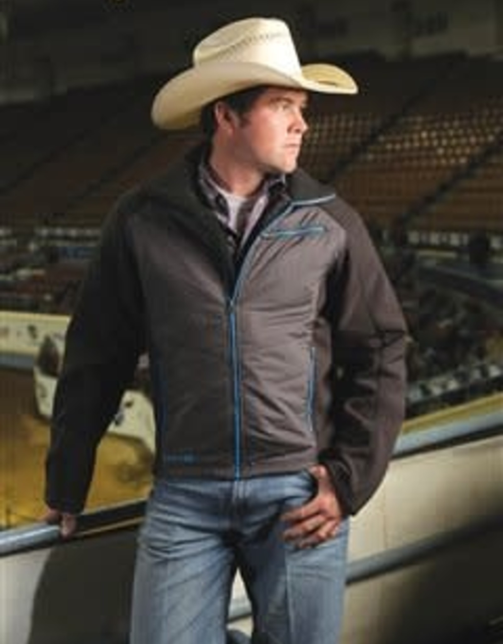 Cinch Mens Cinch Bonded Poly Fill Jacket - Black n Electric Blue