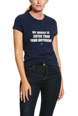 "Ariat Ariat Womens Navy T-Shirt ""My Horse Is Cuter Than Your Boyfriend"""