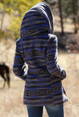 Cruel Girl Blue Aztec Print Tweed Coat