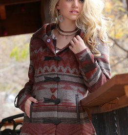 Cruel Girl Burgundy Southwest Aztec Tweed Jacket
