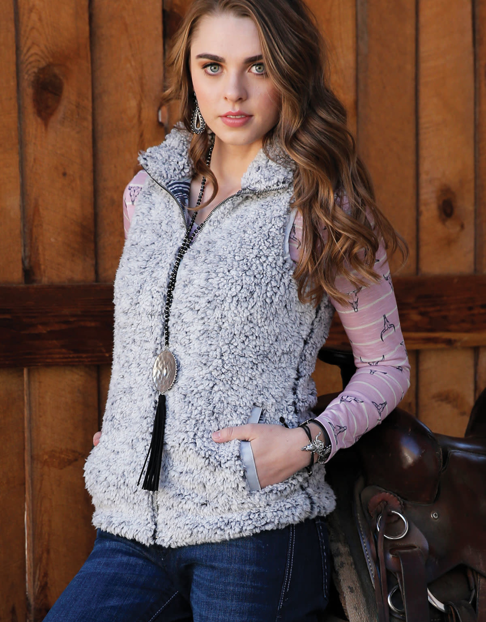Cruel Girl Womens Grey Sherpa Vest