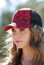 Cruel Girl Red Aztec Mesh Back Trucker Cap