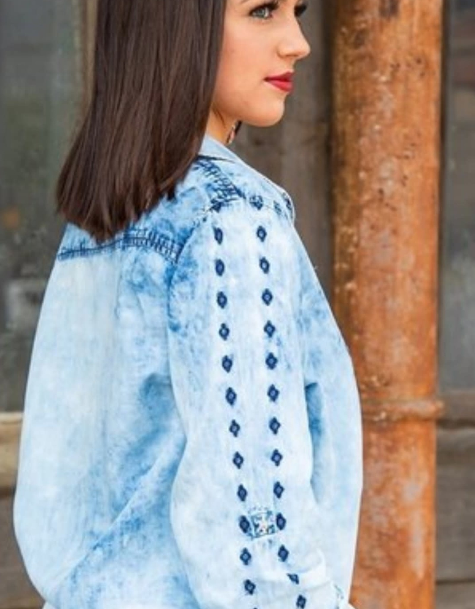 Womens Faded Denim Long Sleeve Embroidered Snap Shirt