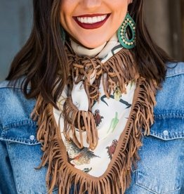 Lucky & Blessed Wild Rag Cowboy Print with Fringe