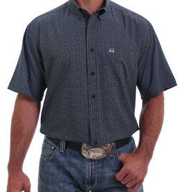 Cinch Mens Cinch Arena Flex Navy Print Short Sleeve Shirt