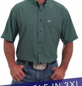 Cinch Mens Cinch Arena Flex Green & Navy Short Sleeve Shirt