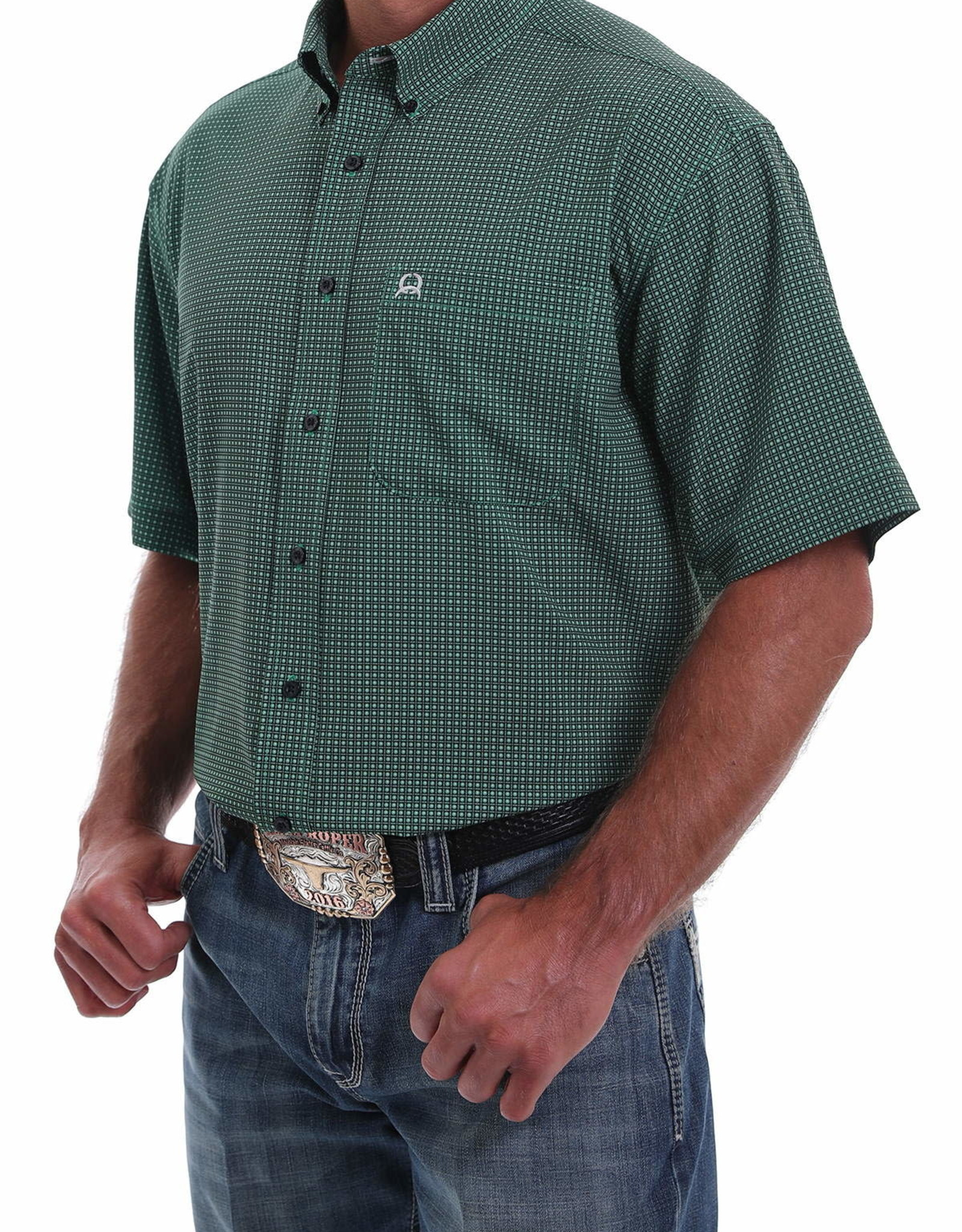 Cinch Mens Cinch Arena Flex Green & Navy Short Sleeve Shirt