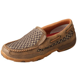 Twisted X Womens Twisted X Slip On Driving Moc Bomber Brown Chevron