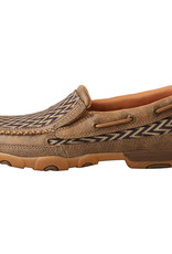Womens Twisted X Slip On Driving Moc Bomber Brown Chevron