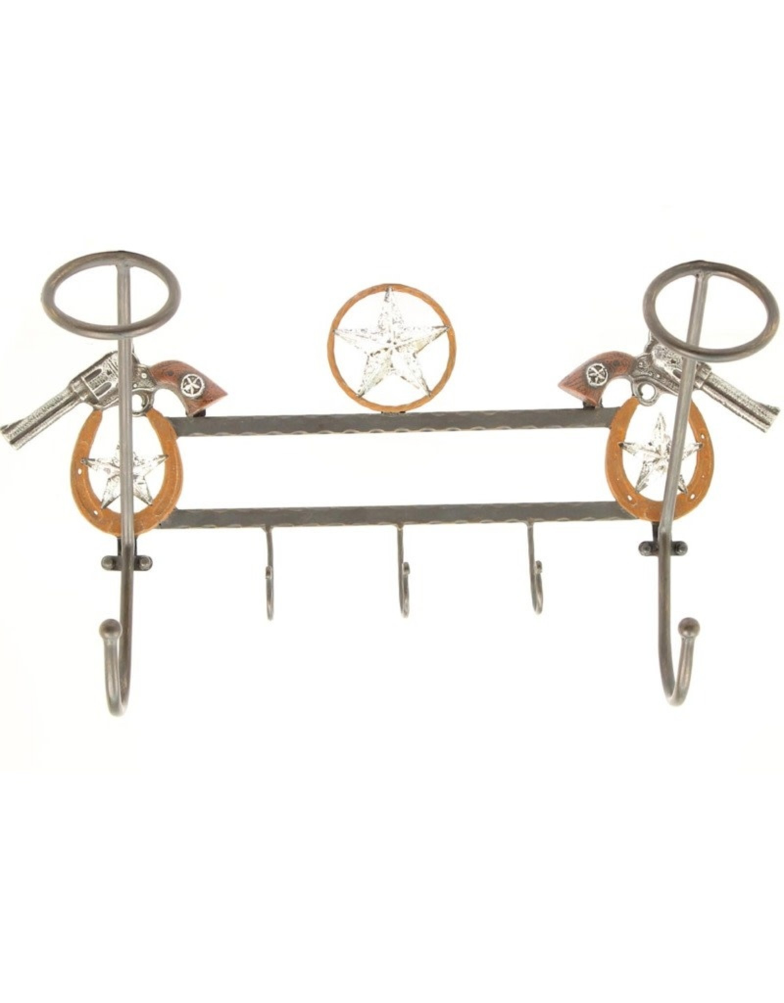 Texas Star Pistol Cowboy Hat Coat Rack