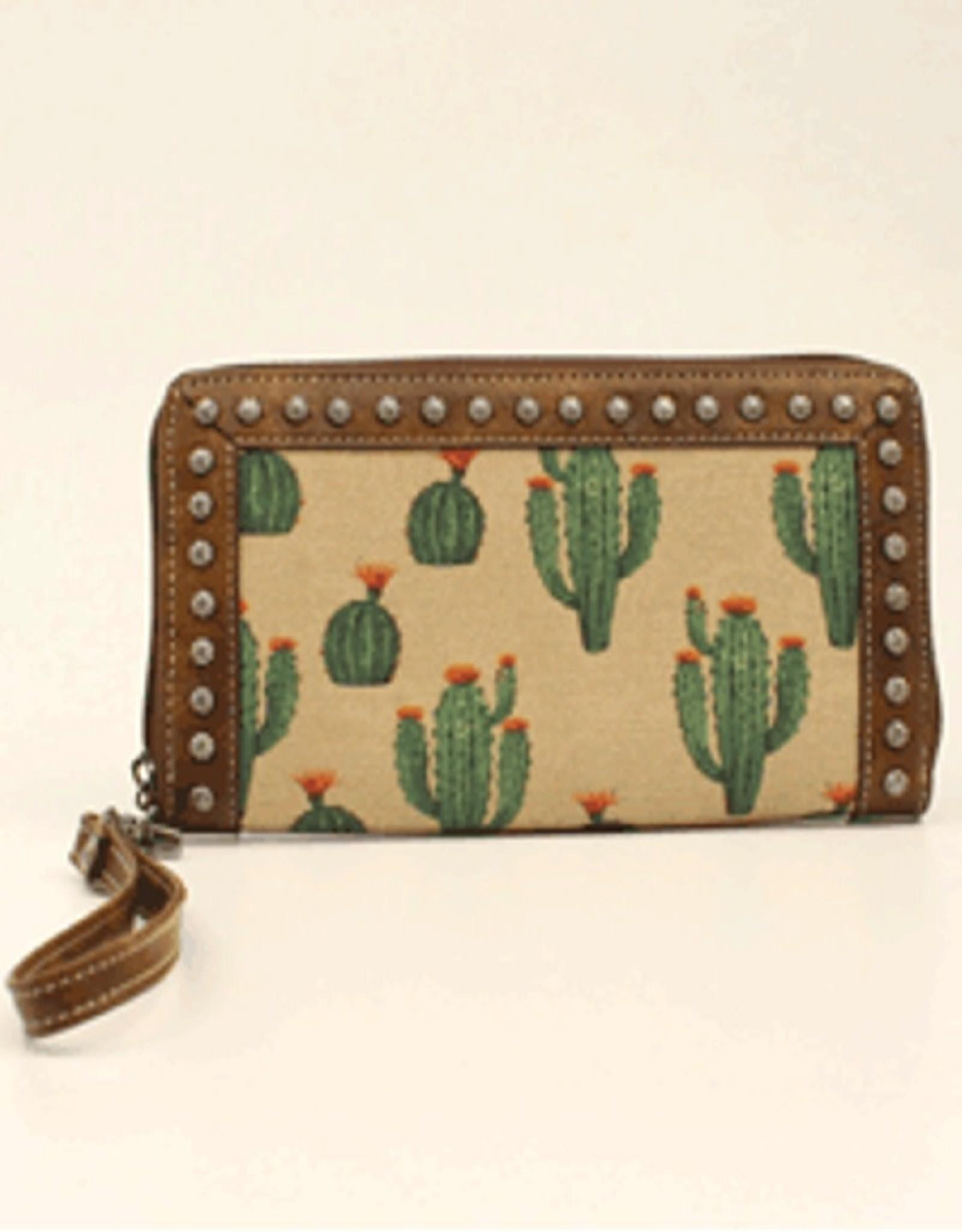 Wallet Brown Leather Trim Cactus Canvas Print