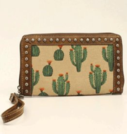 Wallet Brown Leather Trim Cactus Canvas Print