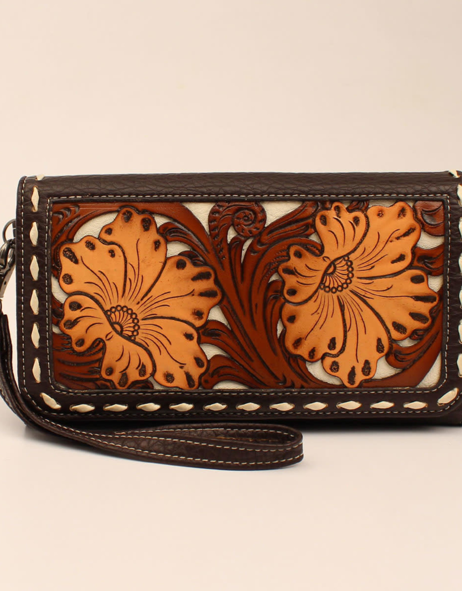 Wallet Brown Leather Floral Tooled Buck Stitch