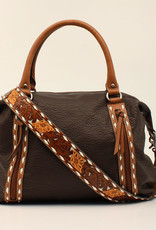 Purse Brown Leather Floral Tooled Buck Stitch Concealed Carry