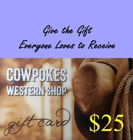 Cowpokes Western Shop Gift Card $25