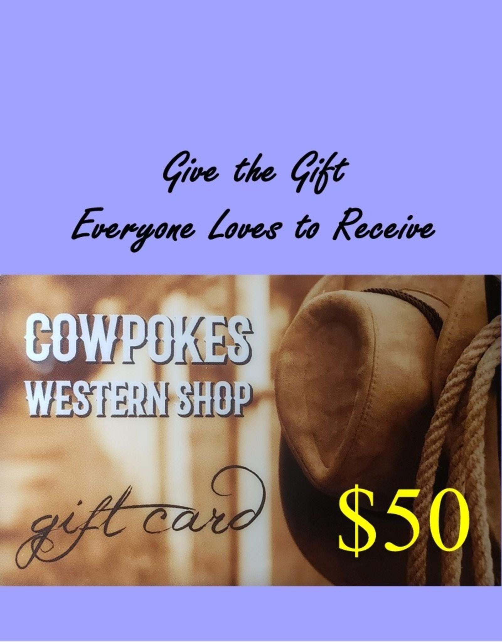 Cowpokes Western Shop Gift Card $50