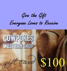 Cowpokes Western Shop Gift Card $100