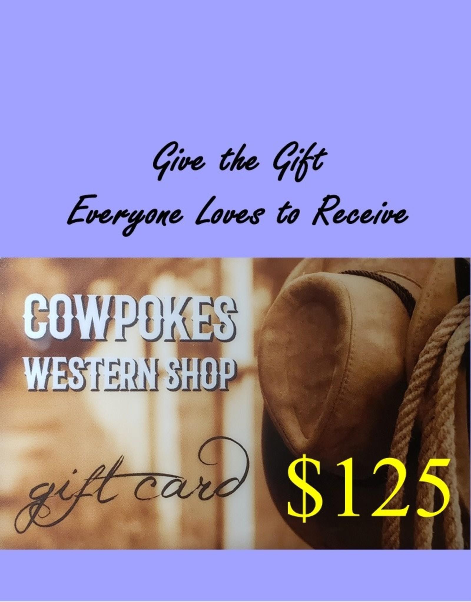 Cowpokes Western Shop Gift Card $125