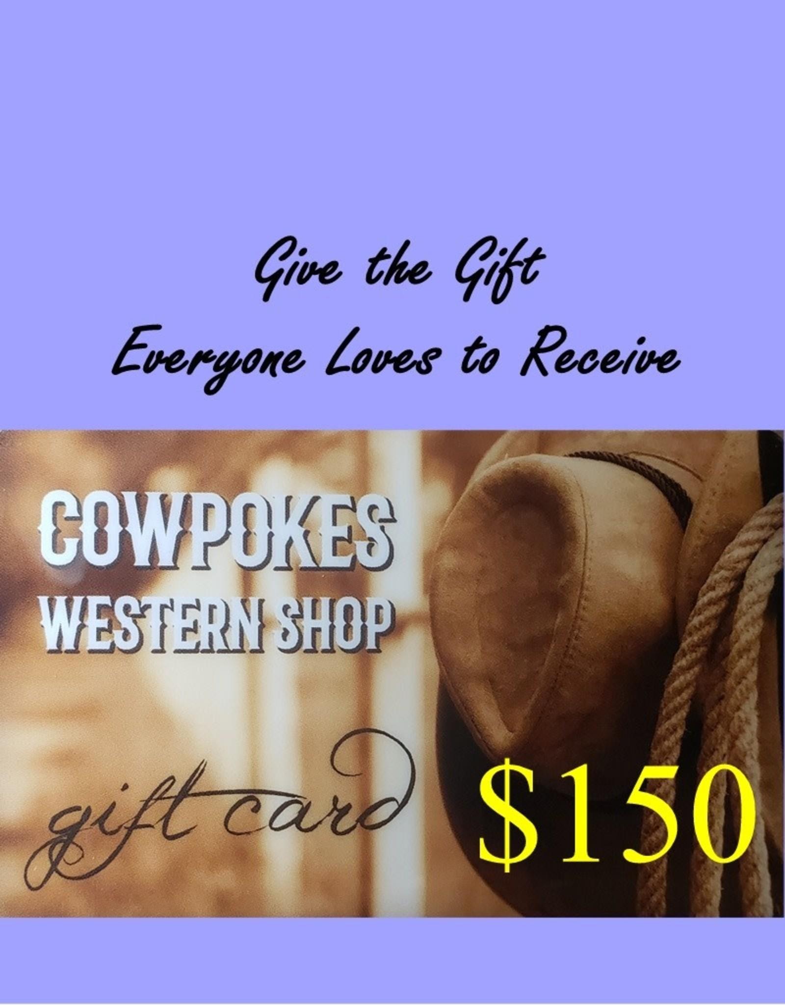 Cowpokes Western Shop Gift Card $150