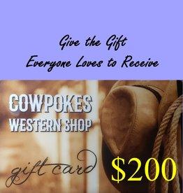Cowpokes Western Shop Gift Card $200