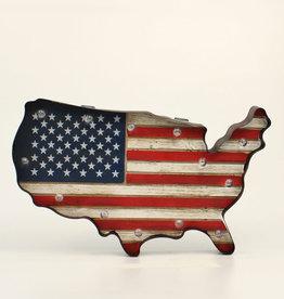 Lighted USA Flag Metal Wall Sign