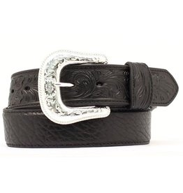Leather Belt Black Bullhide with Tooled Ends
