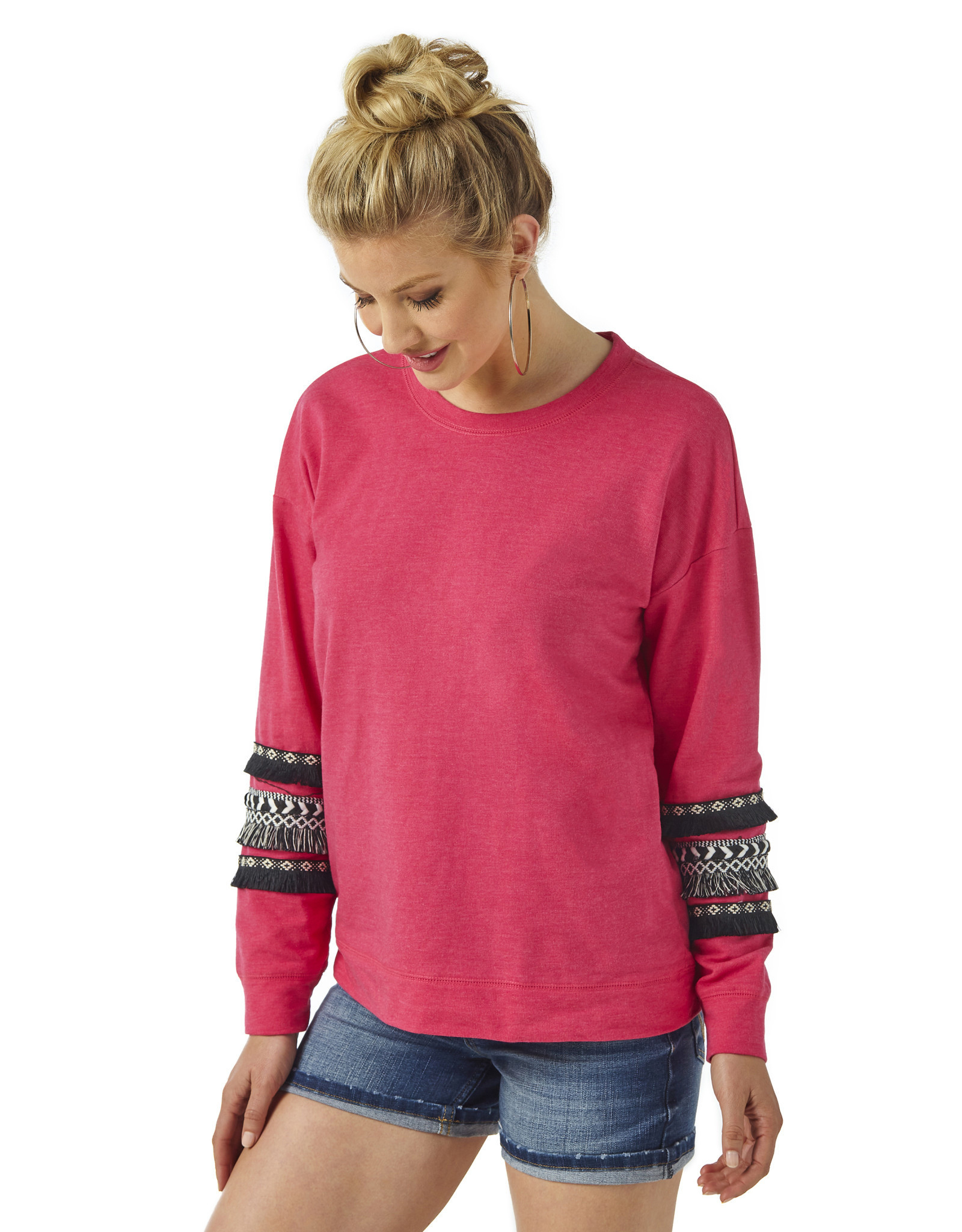 Womens Wrangler Hot Pink Sweatshirt with Black Fringe