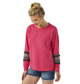 Womens Wrangler Hot Pink Sweatshirt with Black Fringe