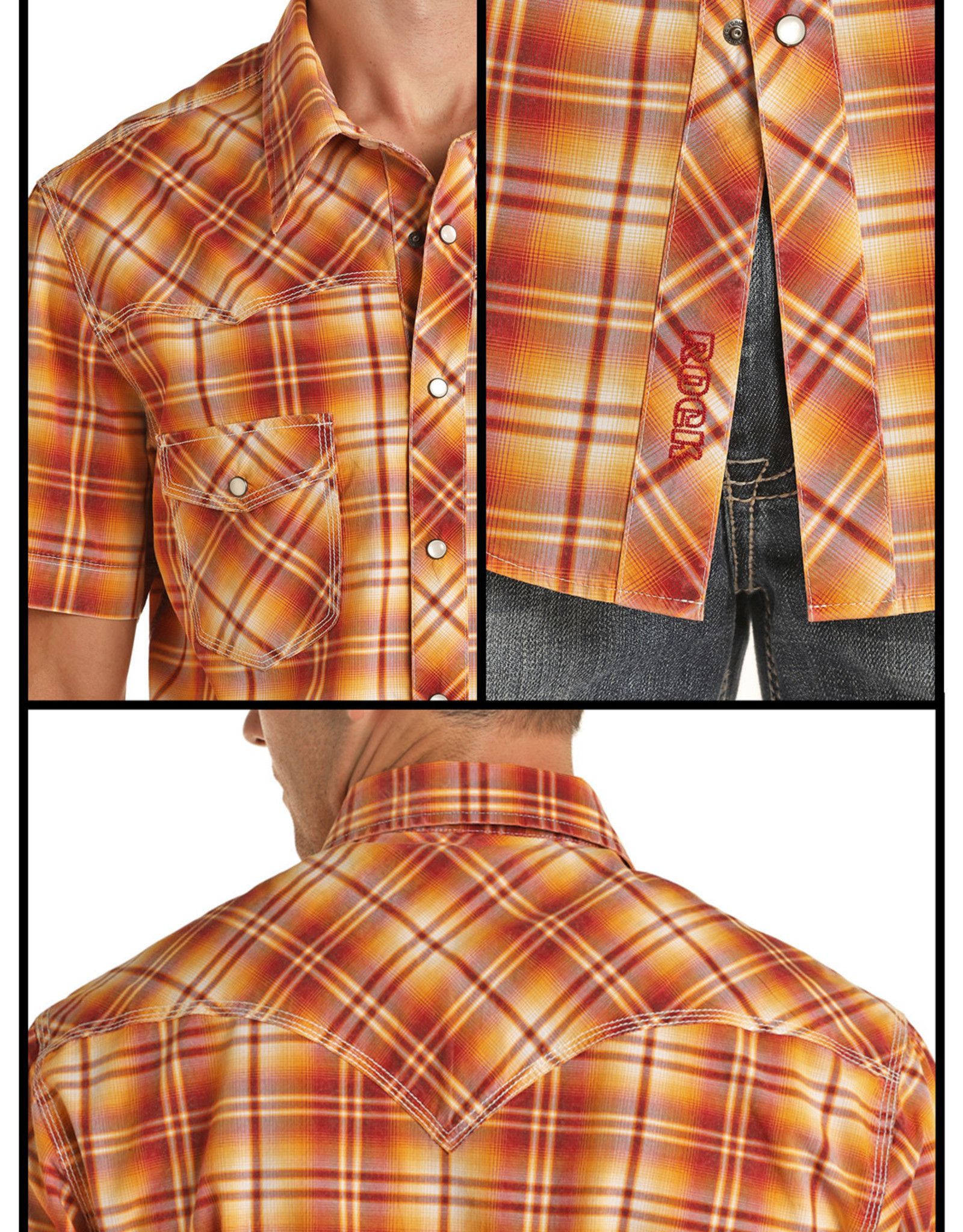 Mens Rock N Roll Short Sleeve Retro Snap Rust Plaid Shirt