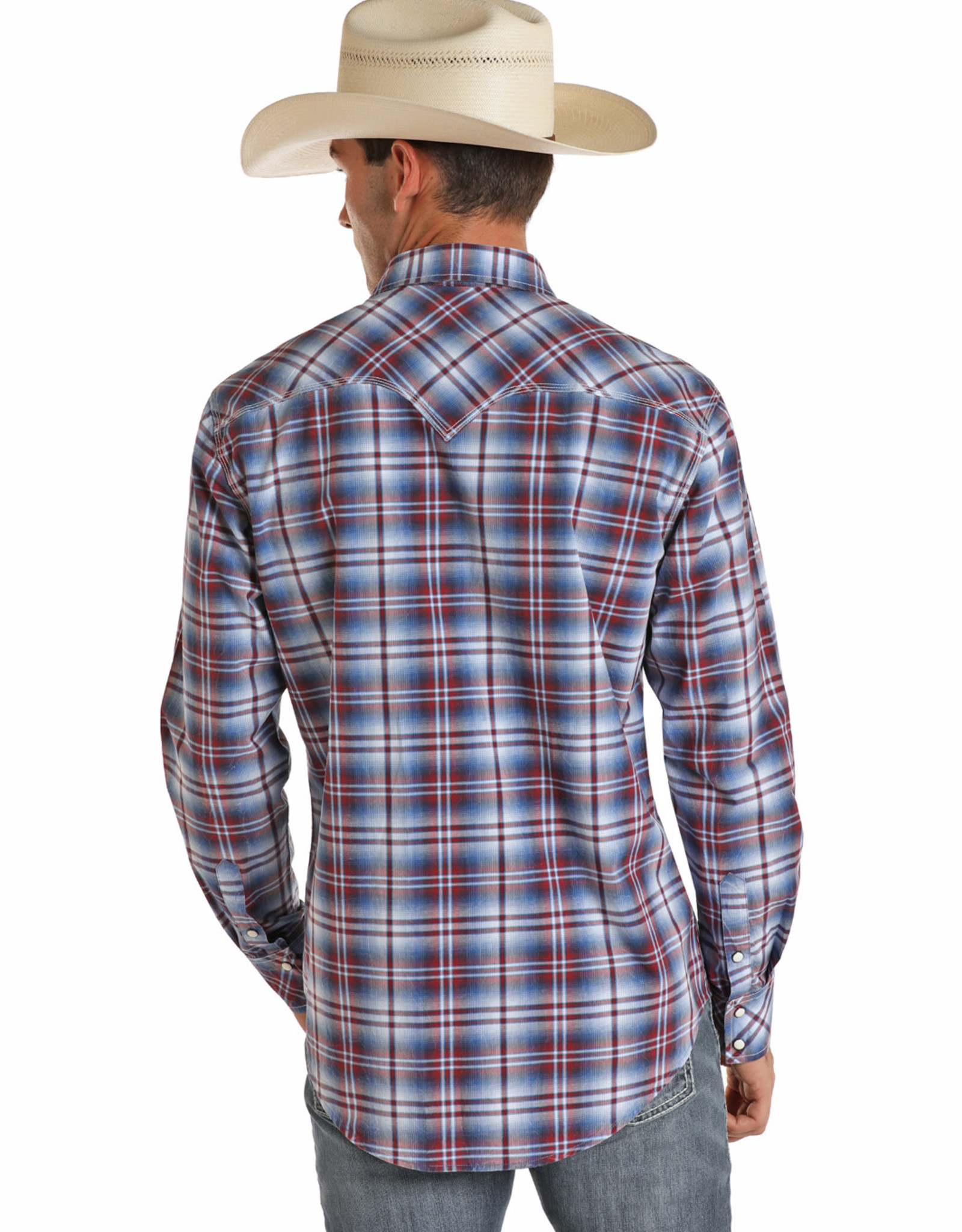 Mens Rock N Roll Red White Blue Retro Snap Plaid