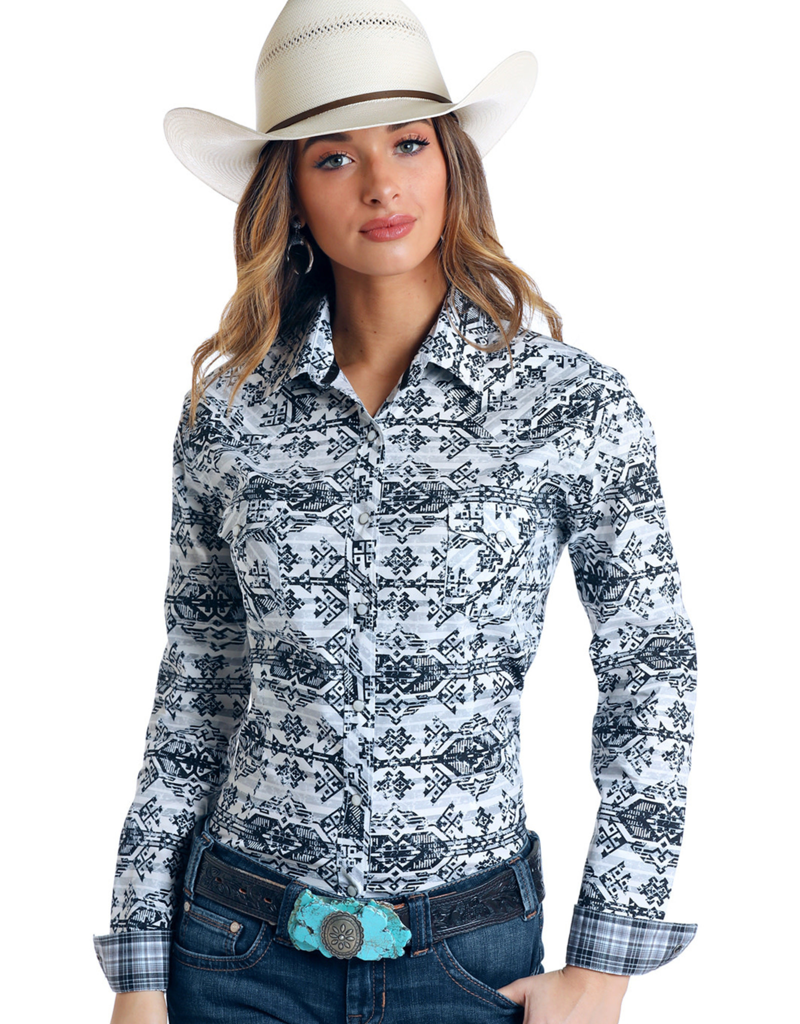 Panhandle Ladies Long Sleeve Stretch Black White Aztec Shirt