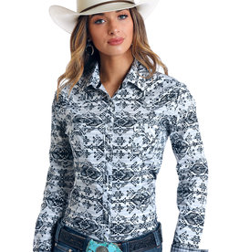 Panhandle Ladies Long Sleeve Stretch Black White Aztec Shirt