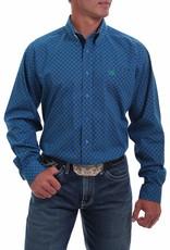Cinch Mens Long Sleeve Royal Blue Green Print Shirt