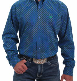 Cinch Mens Long Sleeve Royal Blue Green Print Shirt