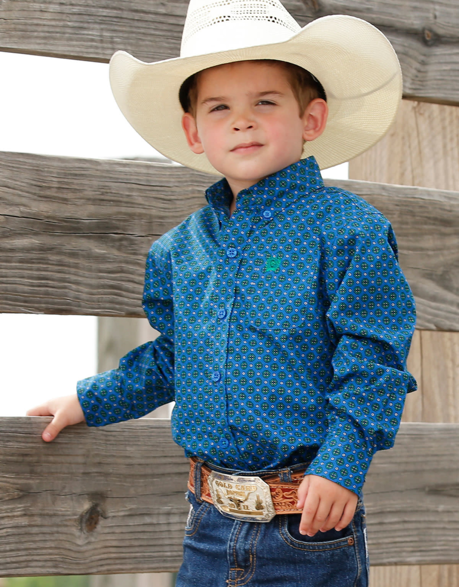 Cinch Infant Boys Cinch Long Sleeve Royal Green Button Print Shirt