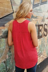Womens Cruel Denim Red Tank Top with Blue Stars